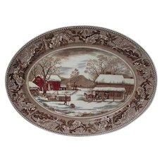 Gigantic Vintage Johnson Bros Platter - Home For Thanksgiving