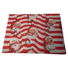 Vintage Christmas Wrapping Paper - Santa Faces on Red White Stripes