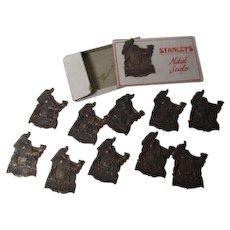 10 Vintage Christmas METAL Seals In Original Stanley's Box