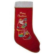Vintage Christmas Stocking #26 - Santa with Reindeer