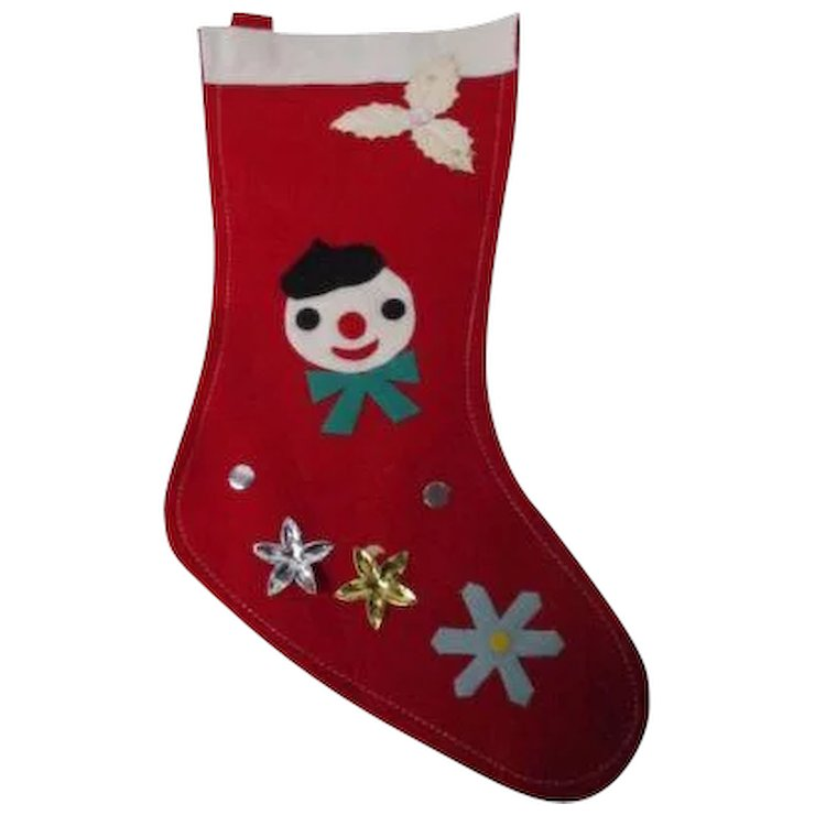vintage christmas stocking 8 snowman with decoration - Vintage Christmas Stockings