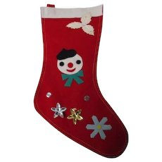 Vintage Christmas Stocking #8 - Snowman with Decoration