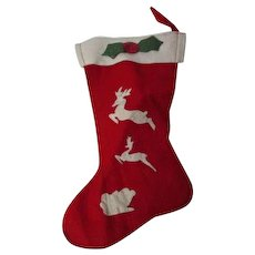 Vintage Christmas Stocking #4 - Reindeer & Holly Cut Outs