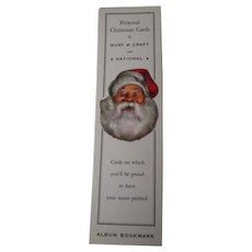 Vintage Rustcraft National Christmas Card Advertising Bookmark - Santa Face