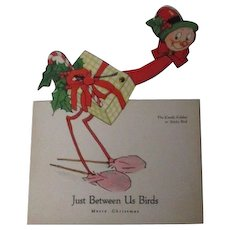 Funny 1930's Mechanical Christmas Card - Just Between Us Birds