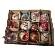 12 Vintage 1960's POLAND Glass Christmas Ornaments - All Indents - Set #2