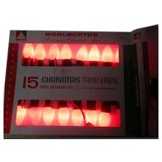 Vintage 15 Light C-9 Christmas Light Set in Orig Box - Woolworth's