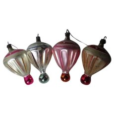 4 Vintage Poland Geometric Glass Christmas Ornaments