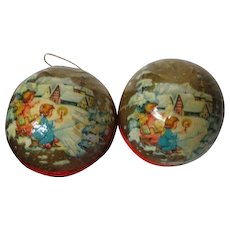 2 Vintage Christmas Candy Container Ornaments - Angels At Town