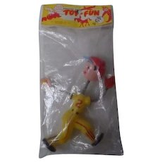 1950's Tico Toys Hard Plastic Baseball Player in Original Pkg - Yellow Fielder