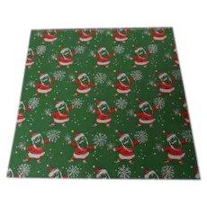Vintage Christmas Wrapping Paper - Green Santas - Unused