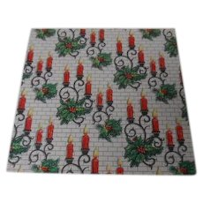 Vintage Christmas Wrapping Paper - Holly Candle Sconces - Unused