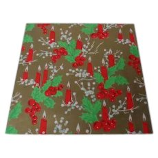 Vintage Christmas Wrapping Paper - Candles Berries Holly - Unused