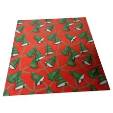 Vintage Christmas Wrapping Paper - Ringing Green Bells on Red - Unused