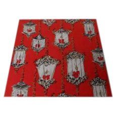 Vintage Christmas Wrapping Paper - Funky Lanterns on Red - Unused