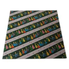 Vintage Christmas Wrapping Paper - Tiny Candles on Green - Unused
