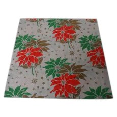 Vintage Christmas Wrapping Paper - Green Gold Poinsettia - Unused