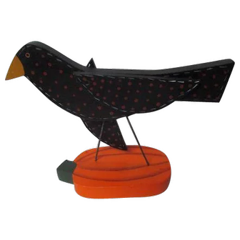1993 Artist Signed Wood Halloween Crow Atop Pumpkin - JEAN CATWALL