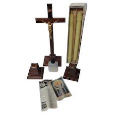 Beautiful 1940's Unused Catholic Sick Call Set w Crucifix & Candles