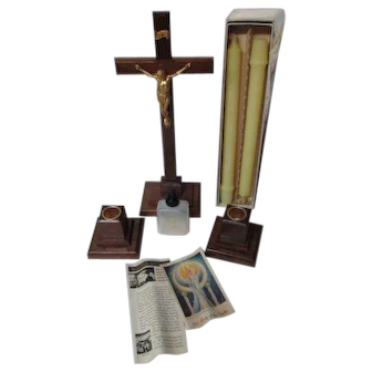 Beautiful 1940's Unused Catholic Sick Call Set w Crucifix & Candles