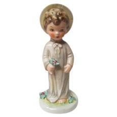 Goebel Porcelain Christchild with Christmas Holly - 1970's Mark