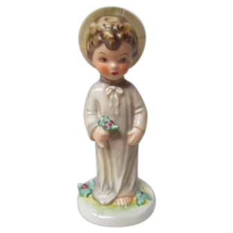 Goebel Porcelain Christchild with Christmas Holly - 1970's Mark