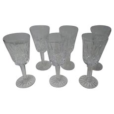 """6 Stunning 5 1/4"""" Tall Waterford Crystal Cordial Wine Stem Glasses - LISMORE"""