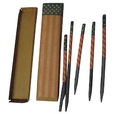 5 Very Old Patriotic Slate Pencils in Original Patriotic Box