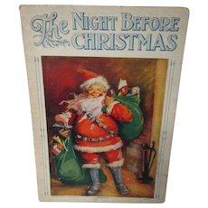 Vintage Saalfield Linentex Night Before Christmas Childrens Book