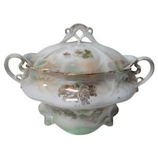 Beautiful Old Germany Porcelain Christmas Holly Flowers China Sugar Bowl w Lid