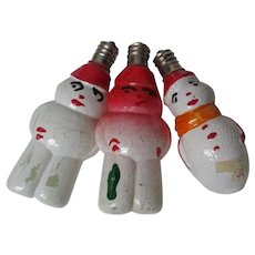 3 Vintage C-7 WORKING Japanese Figural Christmas Lights - Different Snowmen