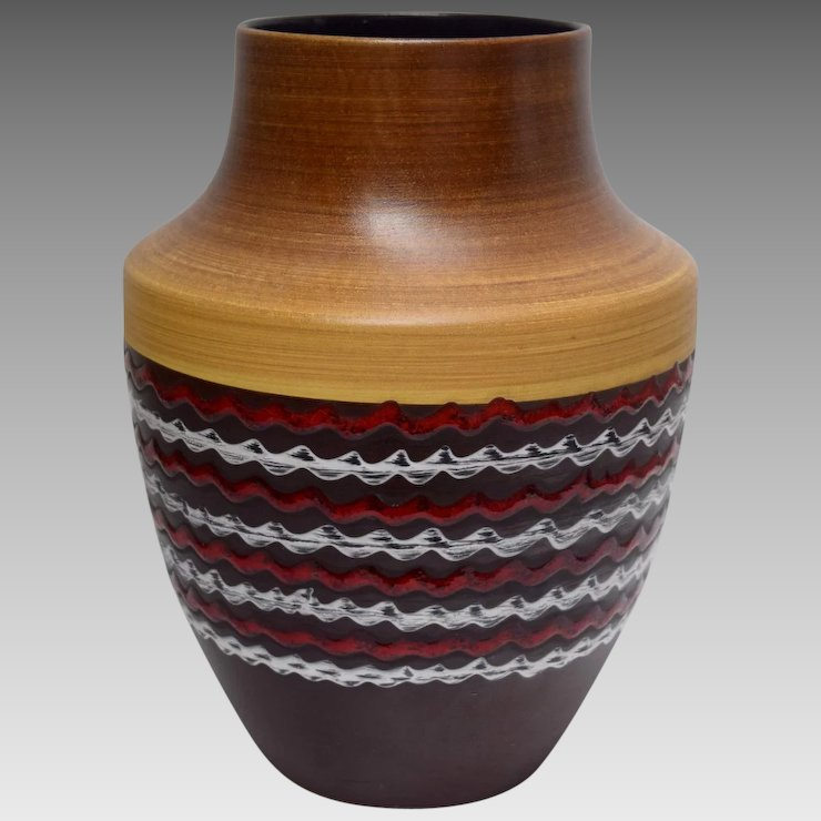 Large West German Pottery Vase The Recycleistas Retro Shop Ruby