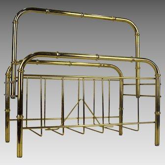 Vintage Brass Bamboo Magazine Rack