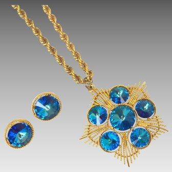 Vintage Lisner Blue Rivoli Necklace and Earring Set
