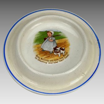 Vintage Baby Bunting Childs Plate or Dish Nursery Rhyme