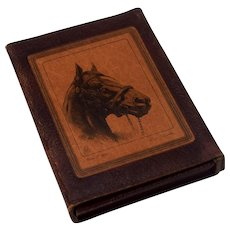 Vintage 1940s Leather Playing Card Bridge Case Horses Man O'War Seabiscuit