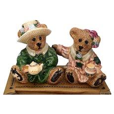 Boyds Bears Tea Time Salt and Pepper Shakers Emma & Bailey