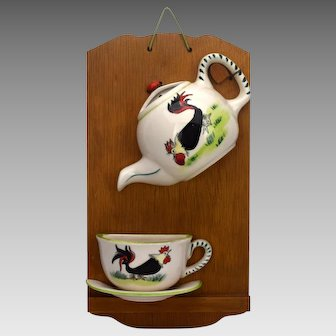 Mounted Rooster Wall Pocket Teapot and Teacup