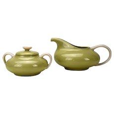 Franciscan China Willow Green Sugar Bowl and Creamer