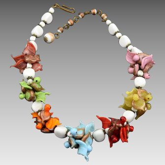 Blown Glass Lampwork Birds and Leaves Necklace Venetian