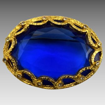 Faceted Cobalt Blue Glass Brooch Gold Tone Rhinestones