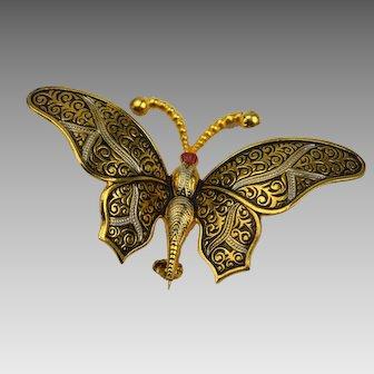 Vintage Spain Damascene Butterfly Pin or Brooch