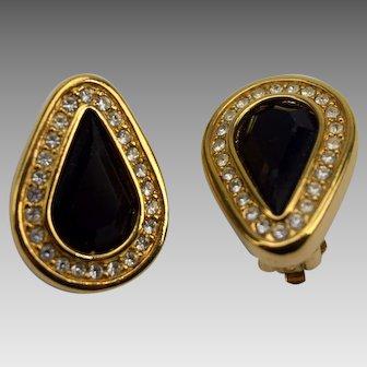 SAL Swarovski Black Crystal Teardrop Clip Earrings