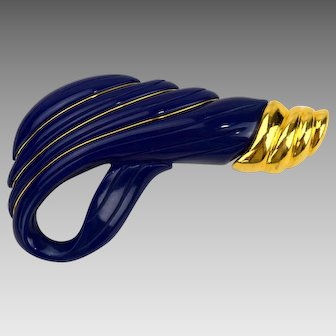 Crown Trifari Abstract Modernist Lucite Brooch Navy Blue and Gold Tone