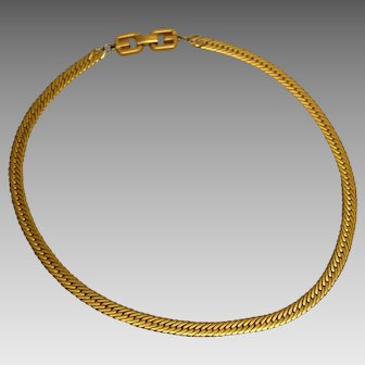 "Vintage Givenchy Flat Herringbone Chain 18"" Gold Tone Necklace"
