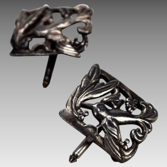 Silverplated Openwork Shirt Studs or Cufflinks Singer Cohen NY Birds
