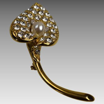 Vintage Napier Calla Lily Brooch with Pave Rhinestones and Faux Pearl Center