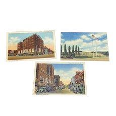 3 Linen Postcards Corning NY - Corning Glass Center