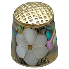 Abalone and Inlaid MOP Flower Thimble