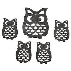Cast Iron Set of Owl Trivets 5 Pieces Taiwan